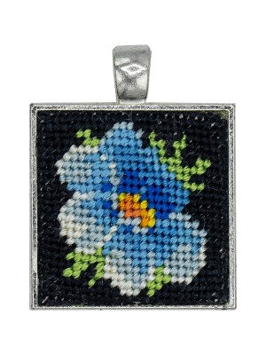 Handmade square pendant, dreamy petunia Gobelin