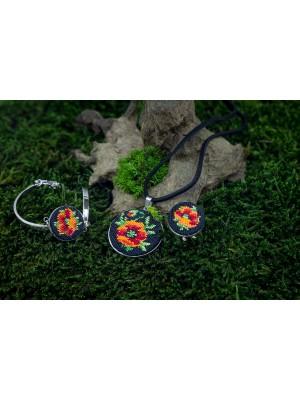 Handmade bracelet pendant and ring, lucky rose Gobelin