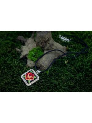Handmade square pendant, lucky rose Gobelin