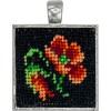 Handmade square pendant, lucky petunia Gobelin