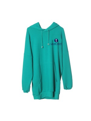 Hooded dress, long sleeves and embroidered Lauder logo