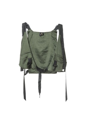 Green and navy vest with clasps