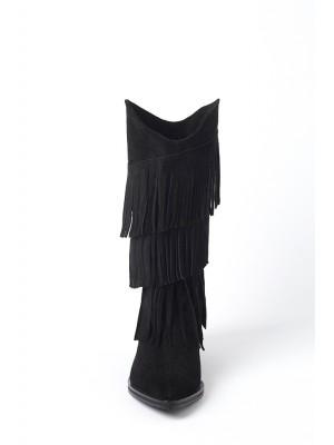 Black Fringed Boots By Laura Olaru