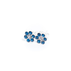 Kids earrings made of sterling silver made of blue crystal