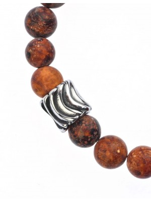 Unisex bracelet made of black agate and stainless steel