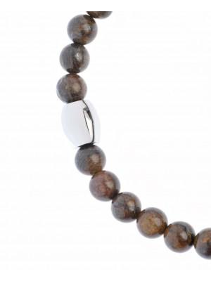 Unisex stainless steel bracelet and bronze stone.