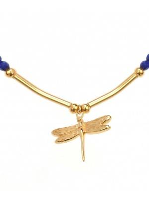Carousel Bracelet made of Gold Plated Sterling Silver Lapis  Stone
