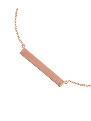 Clear Forever Diamonds Necklace made of Rose Gold Plated Sterling Silver