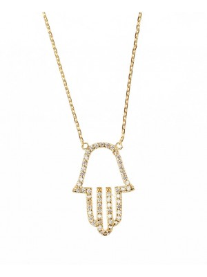 Clear Necklace made of Gold Plated Sterling Silver