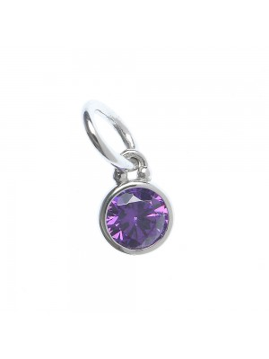 Sterling Silver Pendant  with purple cubic zirconia