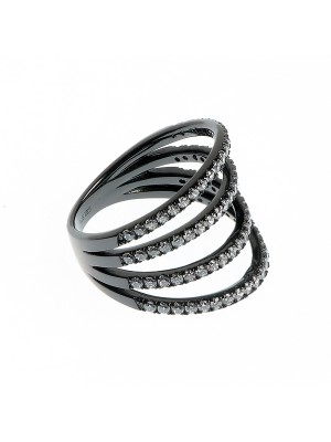Clear Victory Ring made of Black Rhodium Sterling Silver