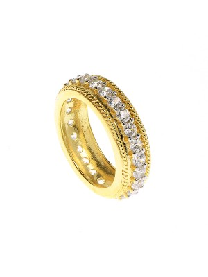 Clear Eternity Ring made of Rose Gold Plated Sterling Silver