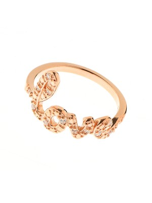 Clear Serenity Ring made of Rose Gold Plated Sterling Silver